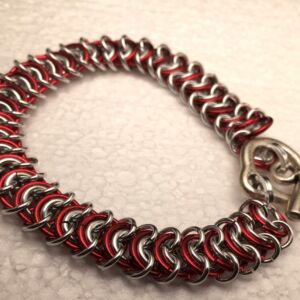 Bracelet in Red /silver tone Chain Maille in a soft design which flows beautifully.