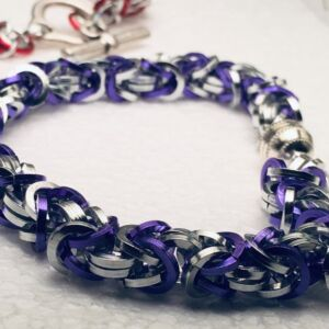 Chain maille bracelet Purple and silver tone .