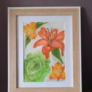 Original Wall Art Framed - Large Watercolour Painting of flowers (Copy)