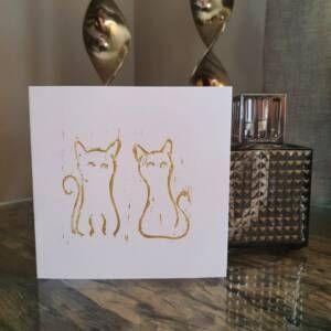 Original Cat Handprinted Cards