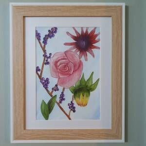 Original Wall Art Framed - Large Watercolour Painting of flowers