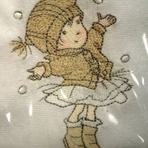 Snow Girl-embroidered bib
