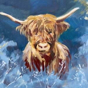 frosty morning highland cow Scotland acrylic painting