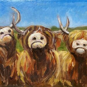 Cheeky coo highland cow Scotland acrylic painting
