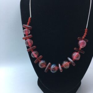Garnet and rose beads necklace, hand made and unique.
