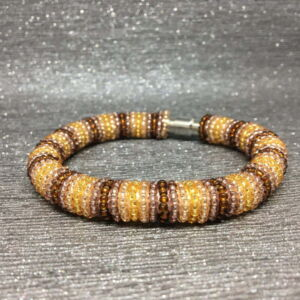 Beaded Bracelet, Gold & Brown Stripes, Earth Tones, Seed Beads, Gift Idea