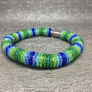 Beaded Bracelet, Green & Blue Stripes, Peacock, Seed Beads, Gift Idea