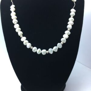 Beautiful Pearl and sterling silver necklace with feature butterfly clasp