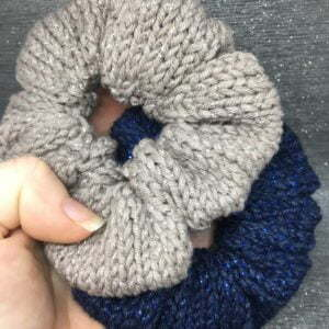 Knitted Hair Scrunchie, Pack of 2, Blue & Mink