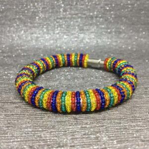 Beaded Bracelet, Rainbow Stripes, Seed Beads, Gift Idea