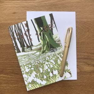 Blank Greetings Card - Snowdrop Woods from my original reduction Lino print
