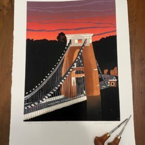 Clifton Sunset Limited Edition Hand Printed Reduction Lino Print Scale Image