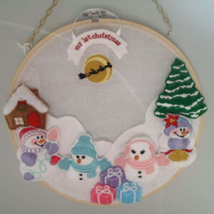 Felt embroidered snow scenes-framed
