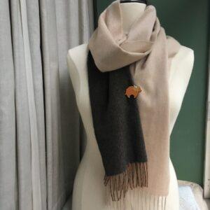 Luxurious Wool Scarf & Brooch - Set B - Cream & Chocolate Pinstripe