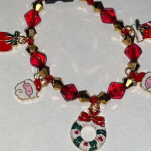 Beaded Christmas Charm bracelet with enamel charms
