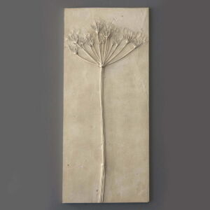 Plaster wall tile casting of wild cow parsley flowers
