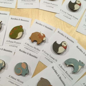 Hand-painted brooches by Arla Kean of Eclectic Kelpie