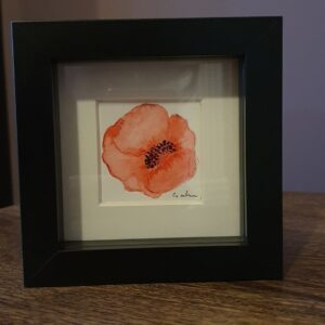 Original Wall Art Framed - Small Watercolour Painting of a Poppy