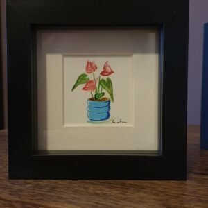 Original Wall Art Framed - Small Watercolour Painting of a Plant