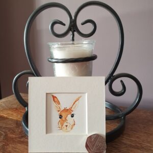 Original Wall Art Mounted - Small Watercolour Painting of a Hare