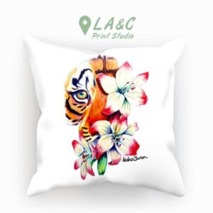Tiger Lily Cushion in Full Colour - Available in Faux Suede Linen and Canvas