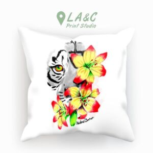 Tiger Lily Cushion in Semi-coloured - Available in Faux Suede Linen and Canvas