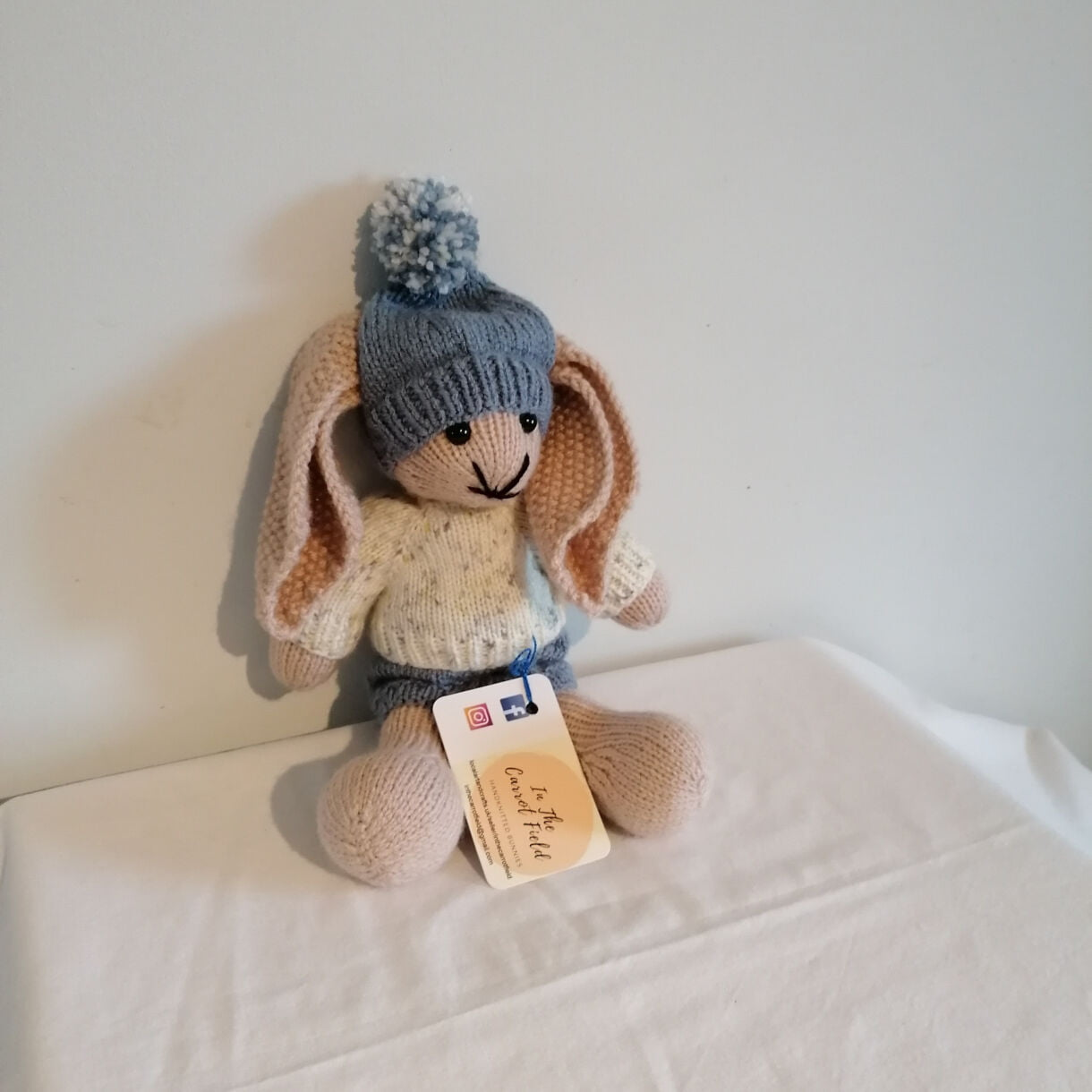Hand Knitted Boy Bunny Soft Toy,