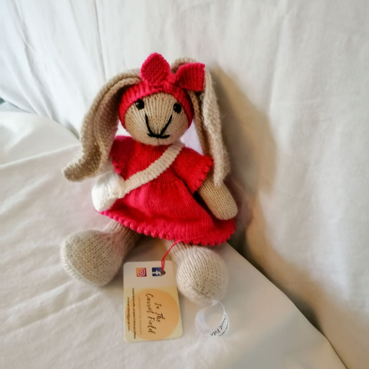 Hand Knitted Girl Bunny Soft Toy,