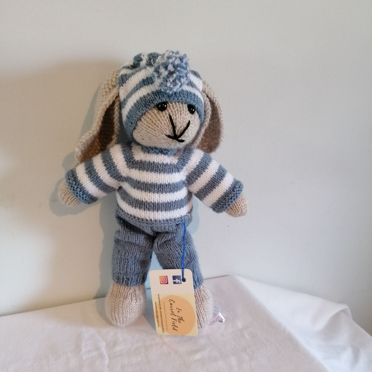 Hand Knitted Denim Boy Bunny, from The Bedtime Collection