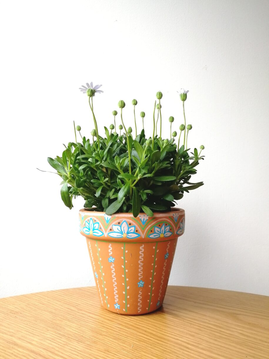 Hand painted terracotta plant pot - Flower Zentangle Pattern - Gift idea - Indoor Planter - Gardening gift - Different sizes - Customisable