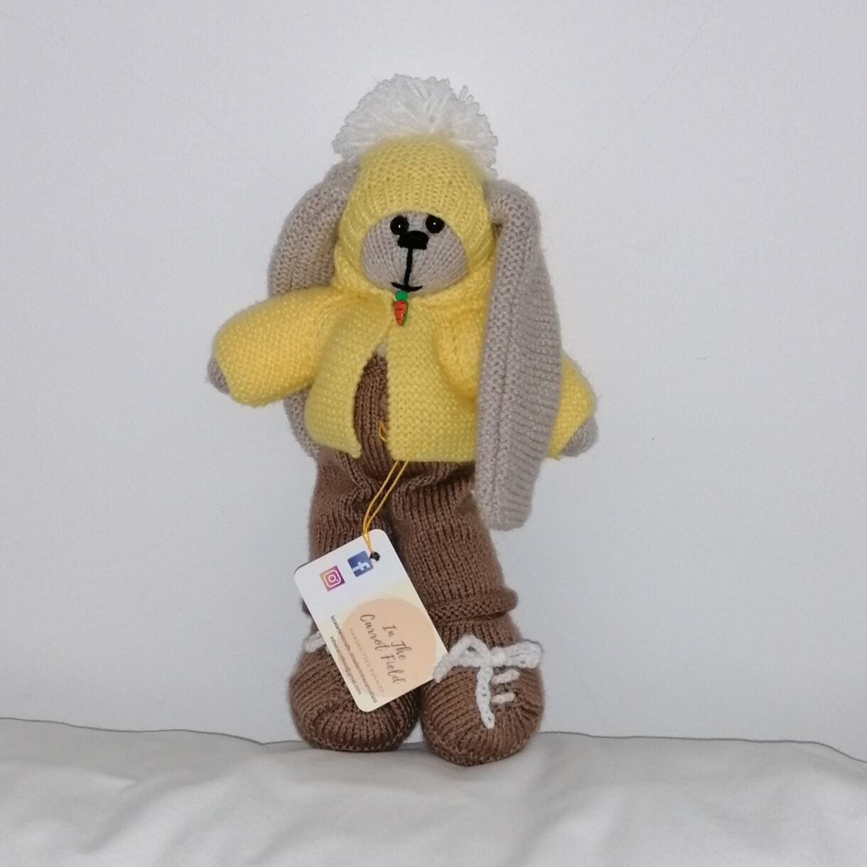 Beautifully Hand Knitted Bunny Boy in Latte Dungarees and Shoes and a Yellow Hat and Hooded Jacket