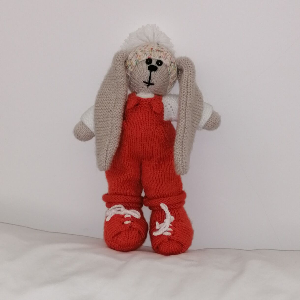 Beautifully Hand Knitted Bunny Boy in Cinnamon Dungarees and Shoes and a Co-ordinated Hat and Hooded Jacket