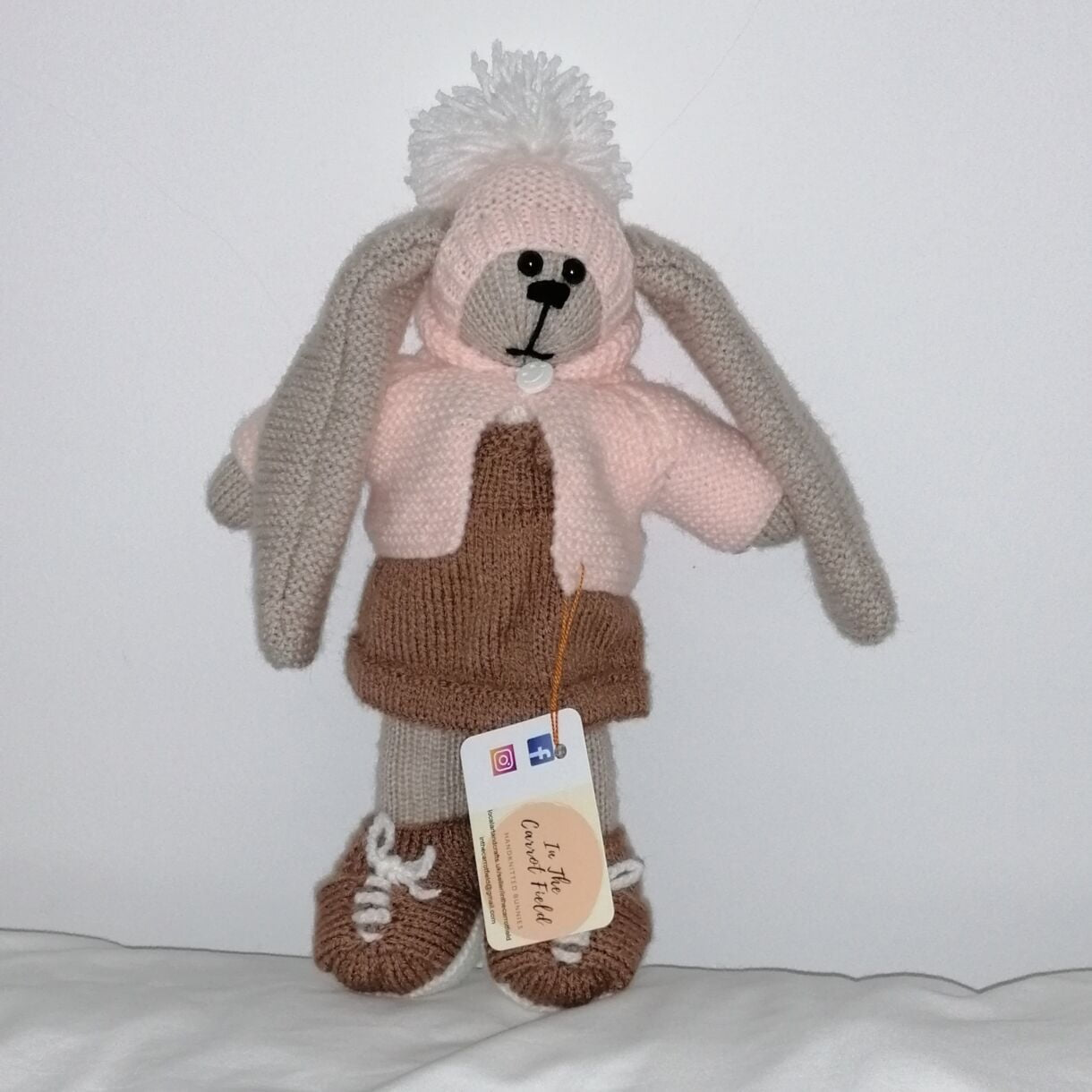 Beautifully Hand Knitted Bunny Girl in a Latte Pinafore and Shoes and a Co-ordinated Hat and Hooded Jacket
