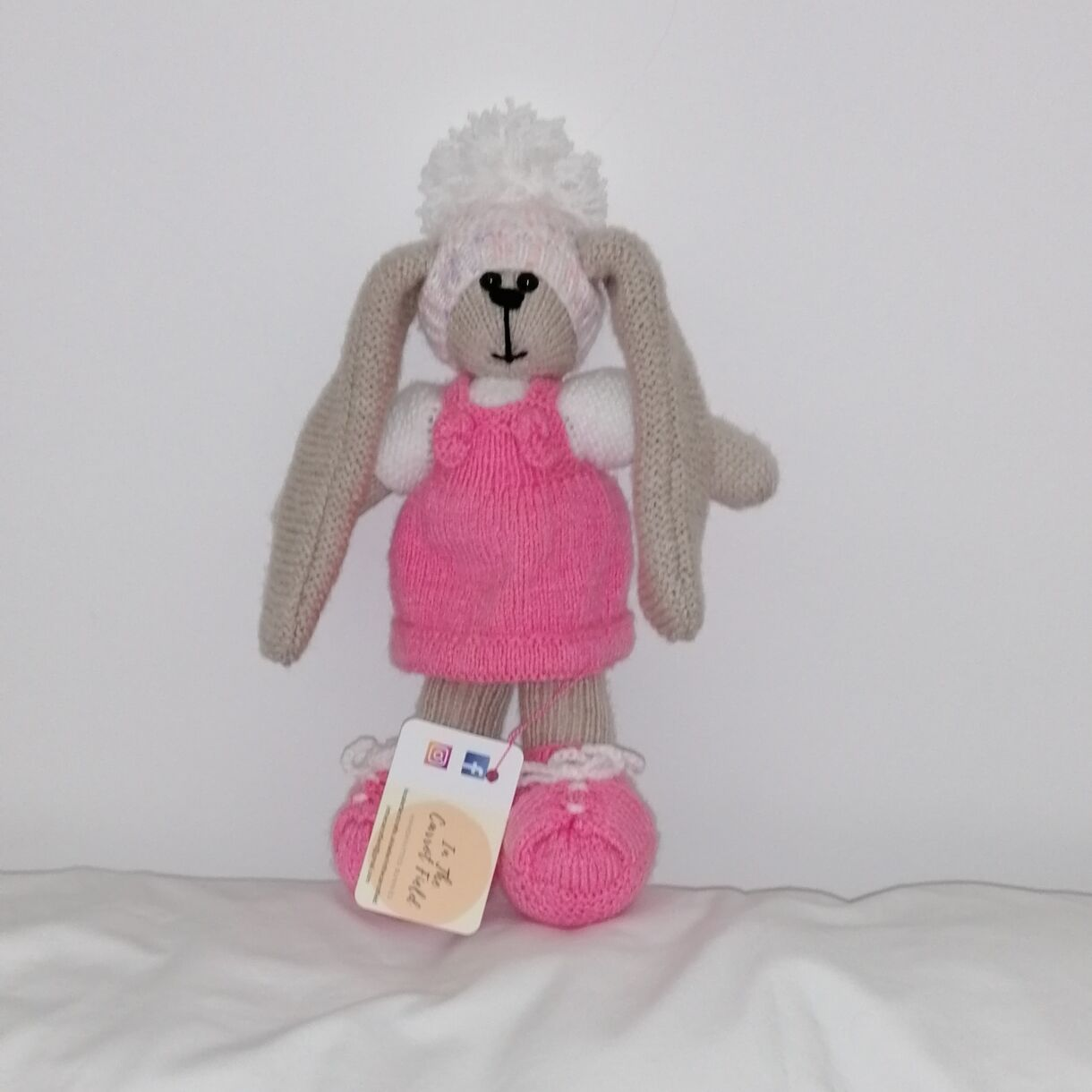 Beautifully Hand Knitted Bunny Girl in a Fondant Pink Pinafore and Shoes and a Co-ordinated Hat and Hooded Jacket