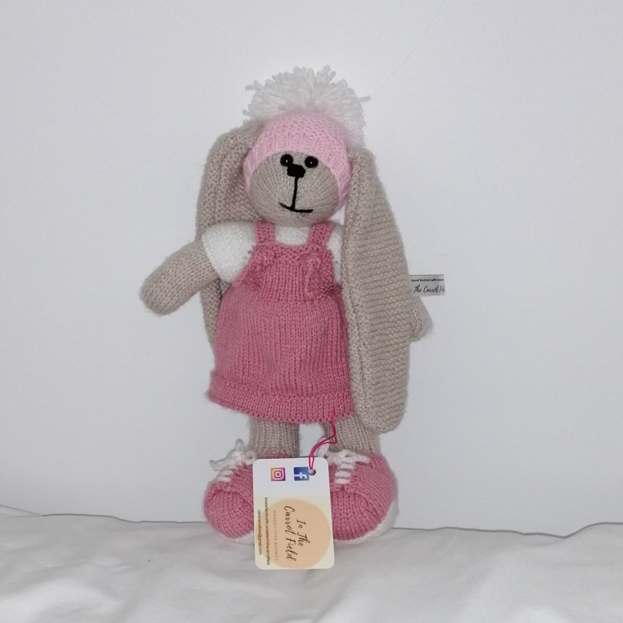 Beautifully Hand Knitted Bunny Girl in a Rose Pink Pinafore and Shoes and a Co-ordinated Hat and Hooded Jacket