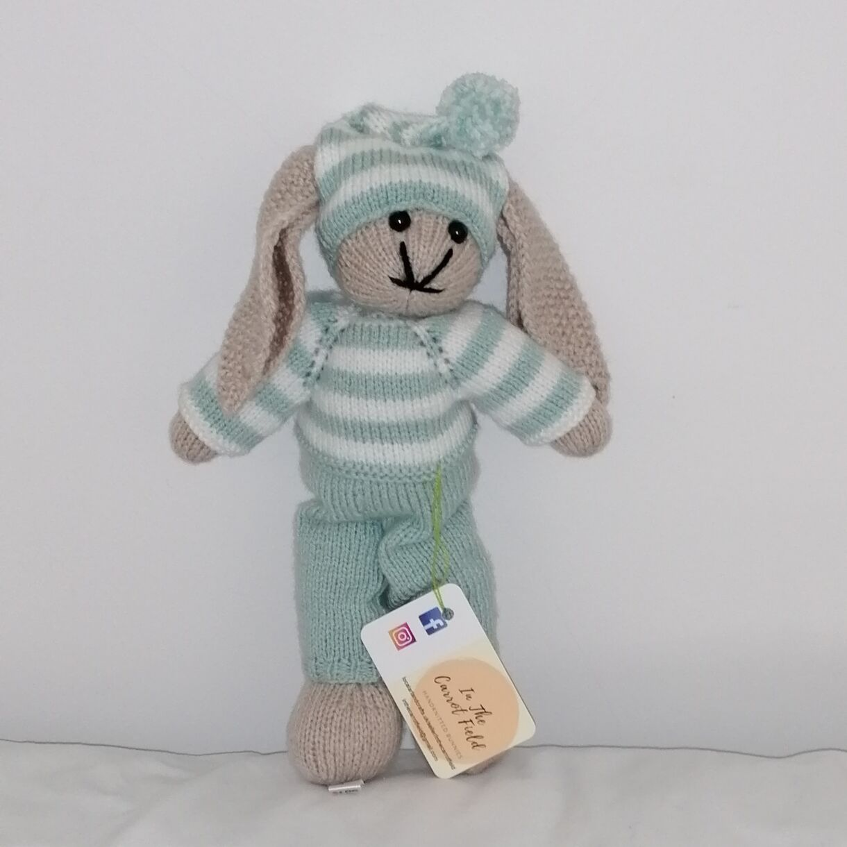 Hand Knitted Snuggle Bedtime Bunny in Duck Egg