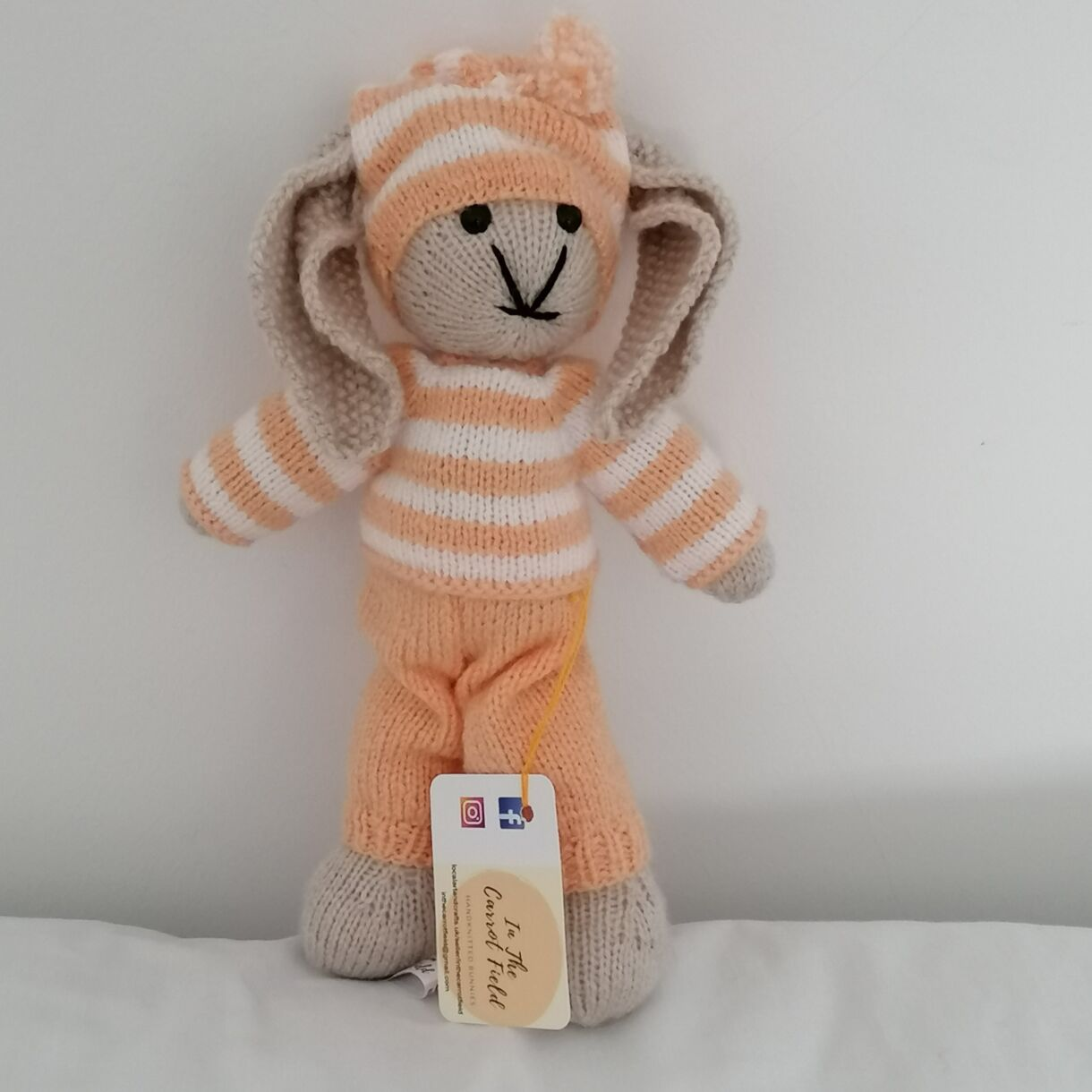 Hand Knitted Bunny in Melba from In The Carrot Field