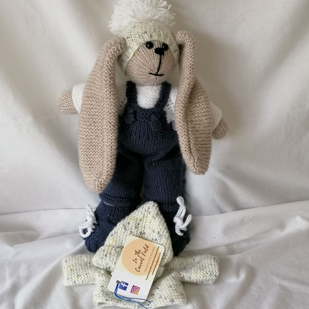 Beautifully Hand Knitted Bunny Boy in Denim Dungarees and Shoes and a Co-ordinated Hat and Hooded Jacket