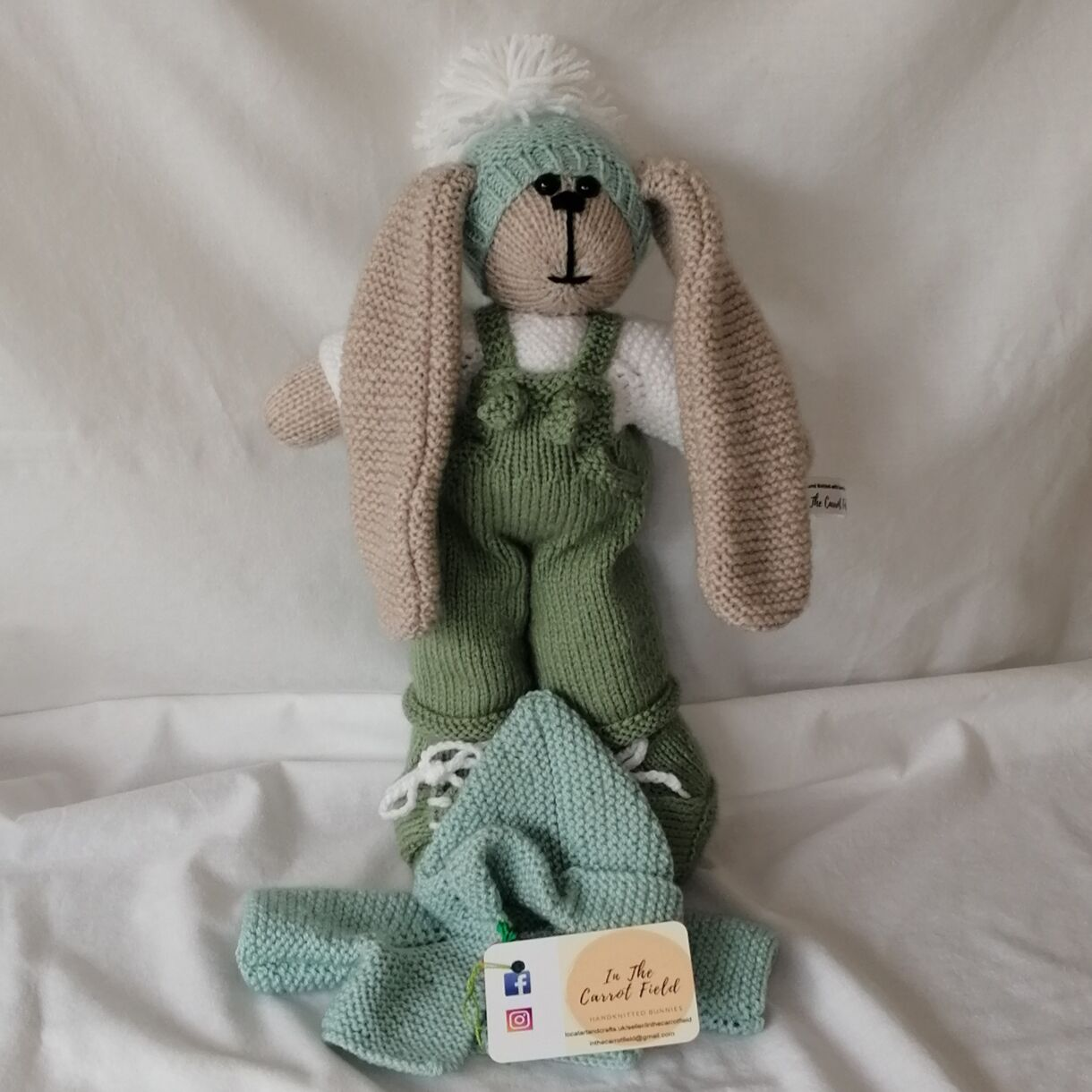 Beautifully Hand Knitted Bunny Boy in Lovet Dungarees and Shoes and a Duck Egg Hat and Hooded Jacket