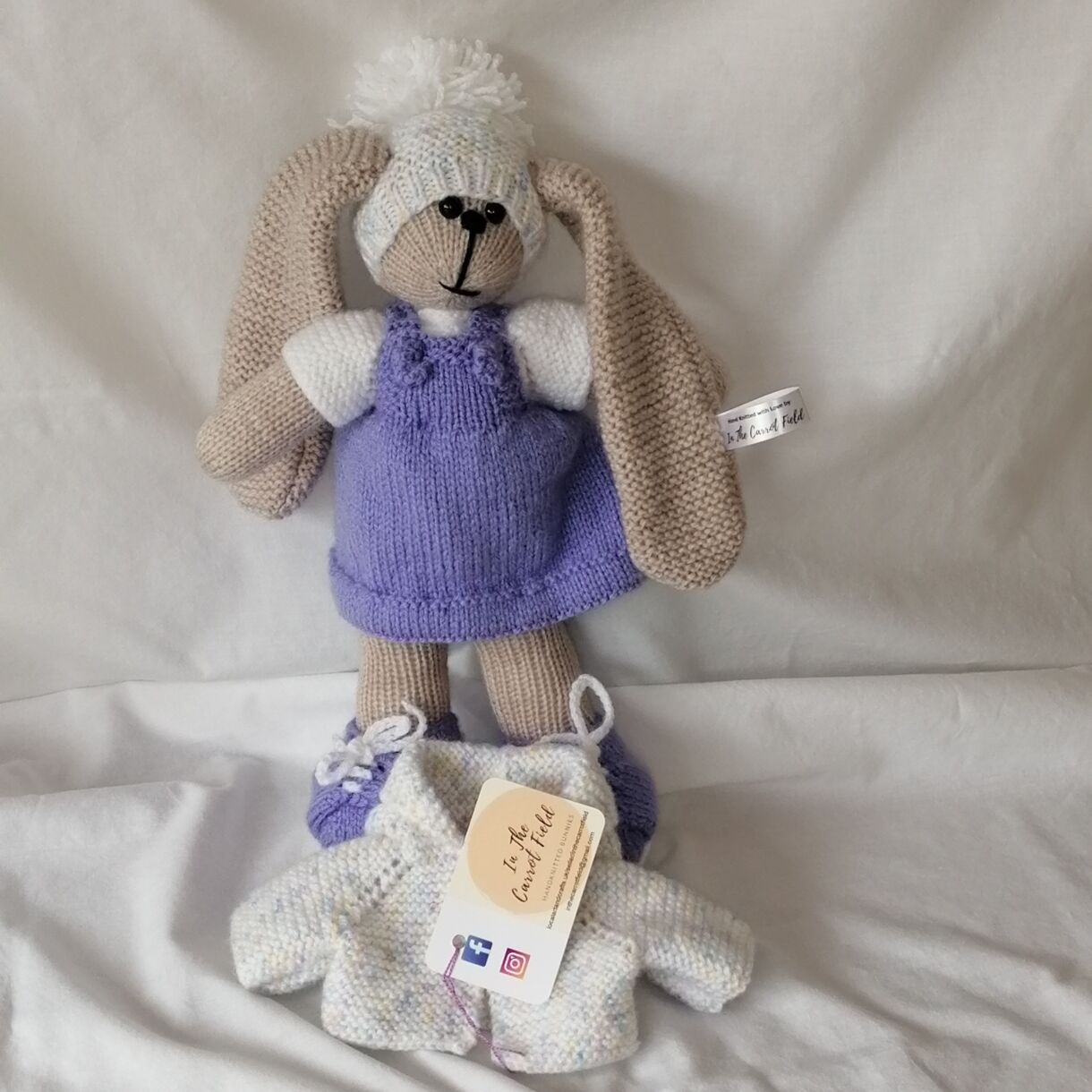 Beautifully Hand Knitted Bunny Girl in a Lavender Pinafore and Shoes and a Co-ordinated Hat and Hooded Jacket