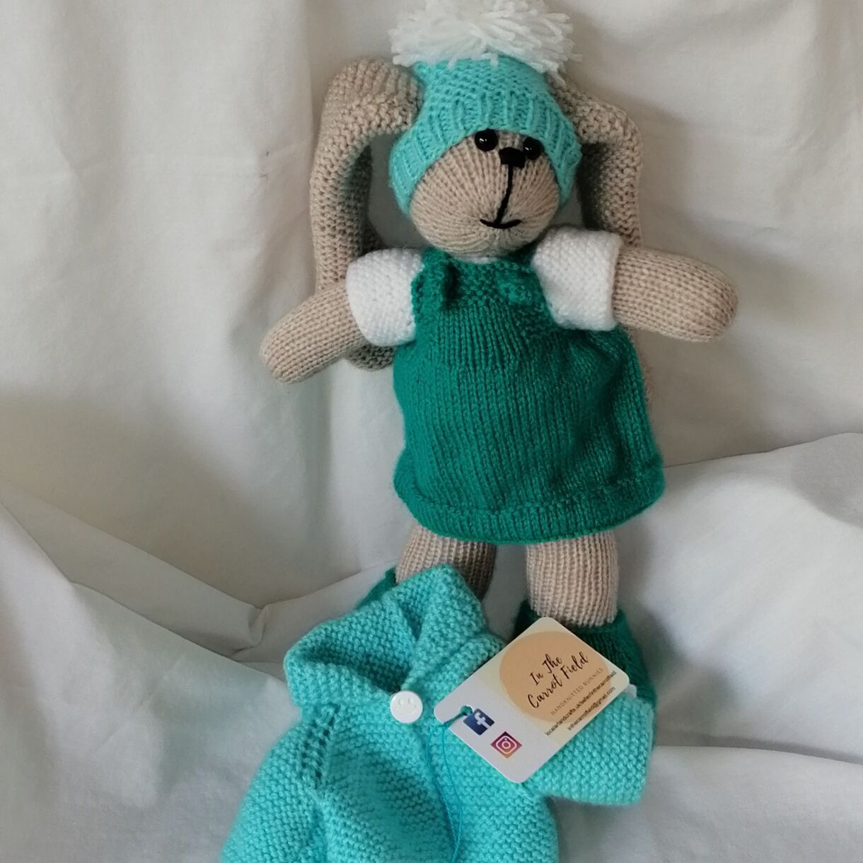 Beautifully Hand Knitted Bunny Girl in a Sea Green Pinafore and Shoes and a Co-ordinated Hat and Hooded Jacket