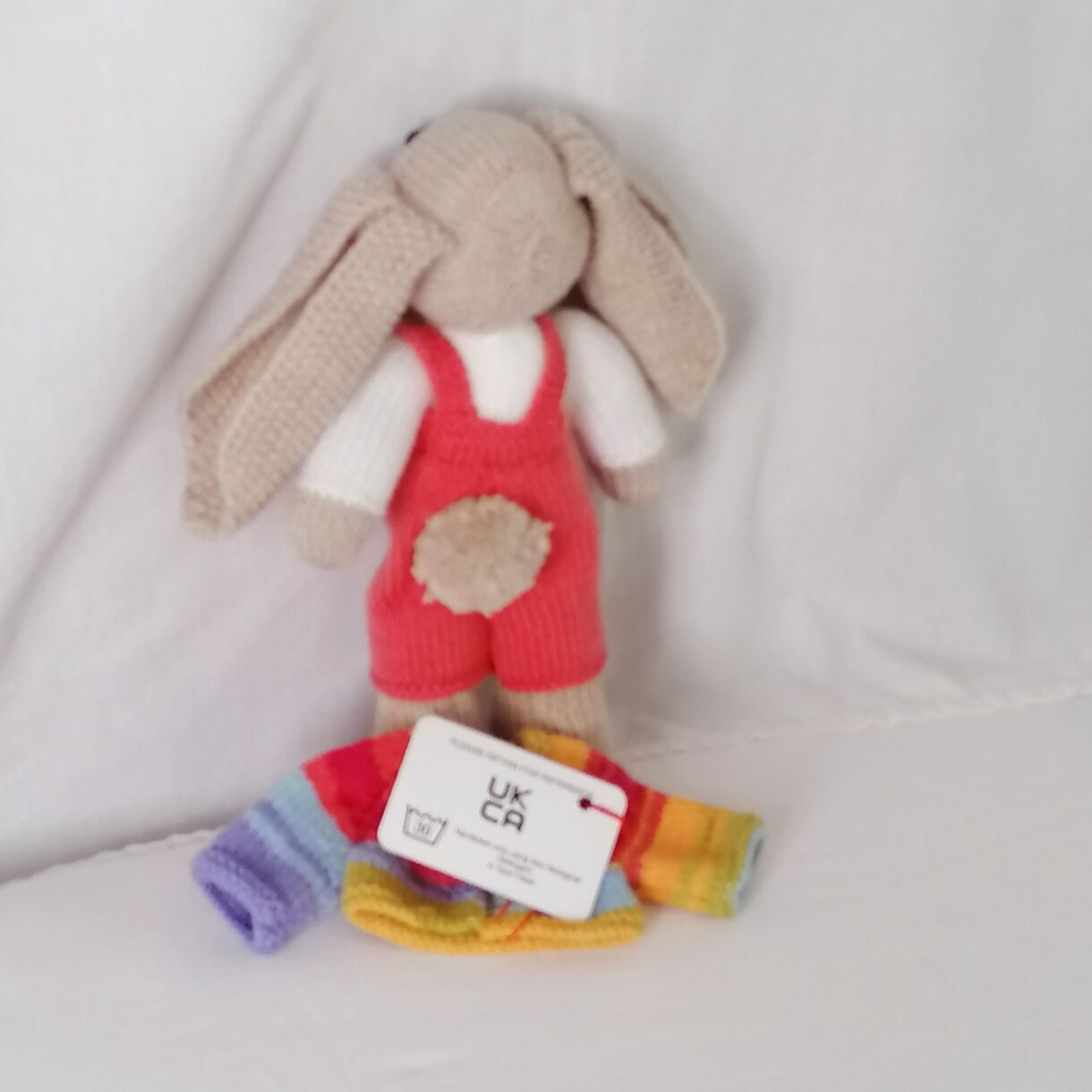 handknitted-rainbow-bunny-unique-gift-orange-back-no-jacket