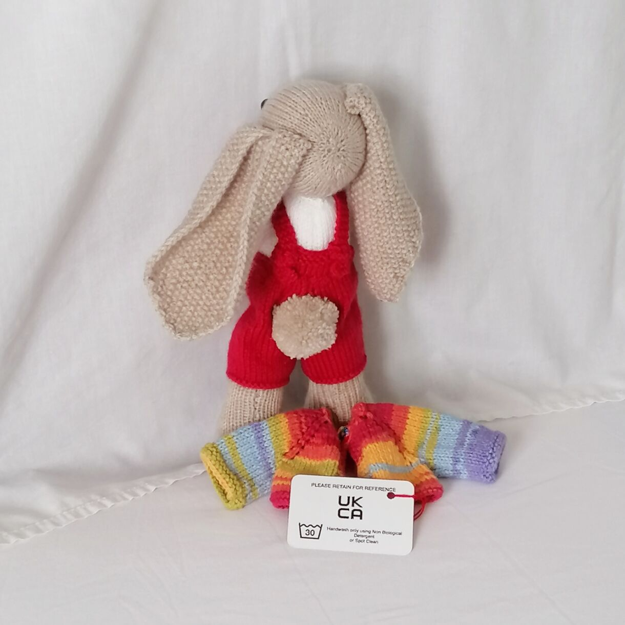 Hand Knitted Bunny Unique Soft Toy   Sing a Rainbow Bunny / Red