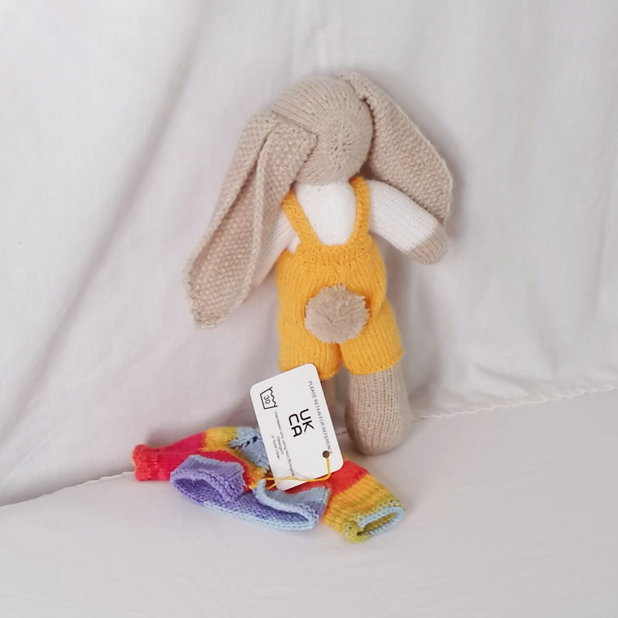 handknitted-rainbow-bunny-unique-gift-yellow-back-no-jacket